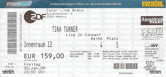 Tina Turner - concert ticket Hamburg - January 30, 2009