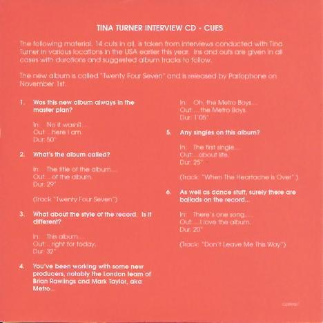 Tina Turner - Twenty Four Seven interview CD - inlay 1
