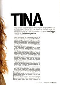 Tina Turner - Saga magazine 2009 - 2