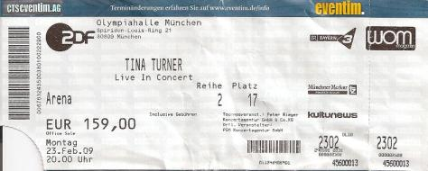 Tina Turner - Olympiahalle, München - February 23, 2009 - ticket