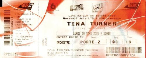 Tina Turner - Paris 2009 - ticket