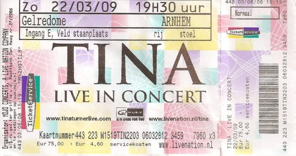 Tina Turner - Arnhem - March 22, 2009 - ticket