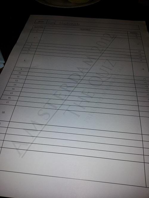 Tina Turner quiz 2012 - answer sheet