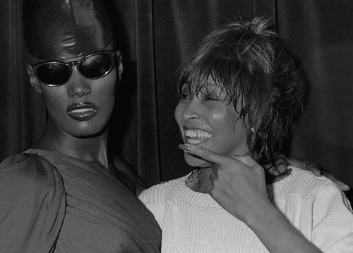 Tina Turner & Grace Jones - backstage at The Ritz in 1981