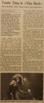 Tina Turner - Foreign Affair opening night - newspaper clipping (6)