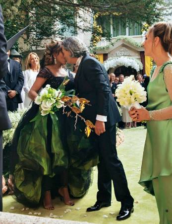 Tina Turner & Erwin Bach's Wedding - Green Dress