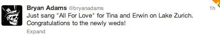 Bryan Adams Tweet