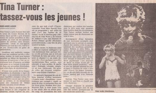 Tina Turner Concert Review La Presse - Canada - 1997 - 02