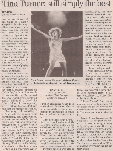 Tina Turner - Concert Review - The Boston Globe - USA - 1997 - 02