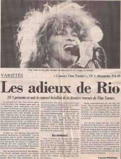 Tina Turner - Rio Concert Review - French Newspaper - 1988