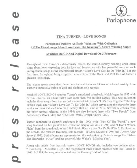Tina Turner - Love Songs - Press Release (Page 1)