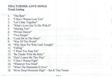 Tina Turner - Love Songs - Press Release (Page 2)