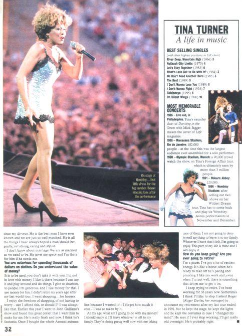 Tina Turner - Wildest Dreams Tour Report - Boulevard Magazine 1996 - 5