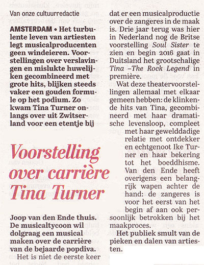 Tina Turner - Telegraaf -September 2015