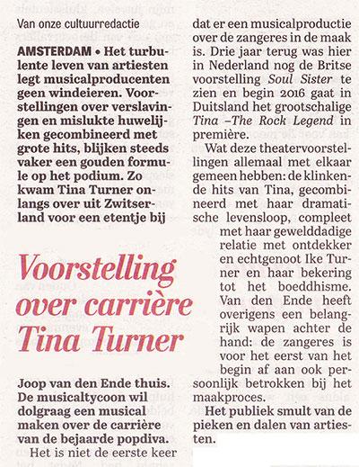 Tina Turner - Telegraaf -September 2015