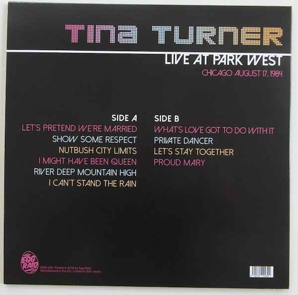 Tina Turner - Live at Park West - 12 Inch LP - Back
